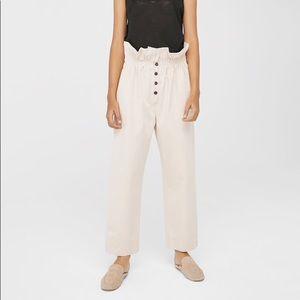 Mango Organic Cotton Ruched Waist Trousers in Ecru